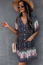 Floral v Neck Short tunic dress with pockets