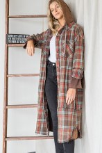Washed Plaid Duster Sm Brown