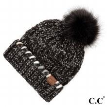 Black Multi Cc Beani Puff Hat