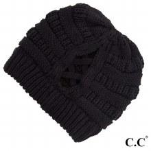Black Criss Cross Cc Beanie