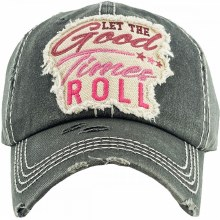 Let the good times roll embroidered hat with velcro closure