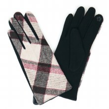 Black,Grey  And Burgundy Plaid Gloves With Smart Touch