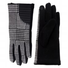 Black Houndstooth Glove With Faux Leather And Smart Touch