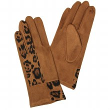 Brown Faux Suede Gloves With Leopard Detail And Smart Touch