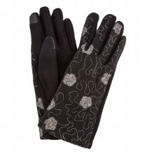 Black Gloves With Gold Threading And Silver Flowers, Smart Touch