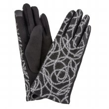 Black And Grey Swirl Gloves With Silver Sparkle And Smart Touch