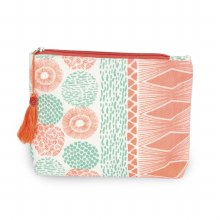 Coral And Mint Cosmetic Bag