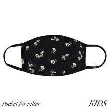 Super Soft Black and Green Floral Kids Face Mask