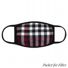 Super Soft Black White Red Plaid Face Mask
