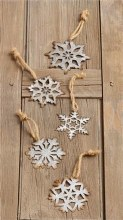 Assorted Tin Snowflake Ornaments With Rope Hanger