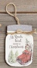 All Roads Lead Home At Christmas Mason Jar Ornament