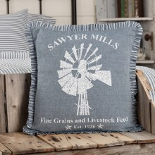 Blue Windmill Pillow