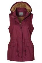 Wine fur lined utility vest