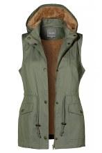 Olive fur lined utility vest