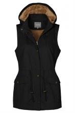Black fur lined utility vest