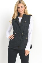 Black Sherpa Lined Utility Vest With Gold Button Detail