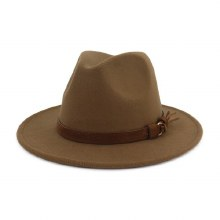Brown Felt Hat With Leather Tassel Detail