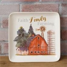 Faith Family Farming Square Plate