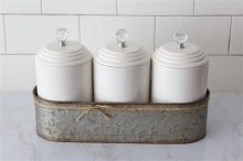 Canister Set With Galvanized Holder