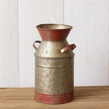 Galvanized Milk Jug Red