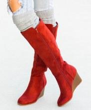 Tall Rust Wedge Heel Boot