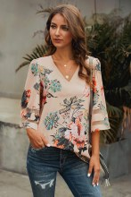 Floral bell sleeve with sheer accents