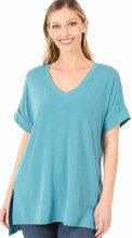 Short Sleeve Cuffed High Low Tunic V Neck Top
