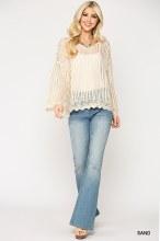 Crochet Sweater Top Lg Sand