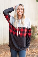 Buffalo Plaid Sweater With Grey Color Block