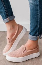 "Super Comfy Mauve Slip On Shoes With 1"" Rubber Sole"