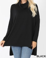 Black Cowl Neck With Long  Sleeve And High Low Hem Line
