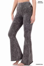 Wide leg medium color denim pant with frayed hem