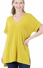 Cuffed Short Sleeve V Neck Top With High Low Hem