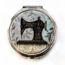 Stitch Sewing Machine Trinket Pill box with mirror