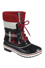 Plaid Laceup Boots 6 Red