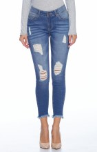 Medium Wash Distress Skinny Jeans With Frayed Hem And Lots Of Stretch