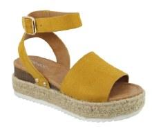 Mustard Suede Flatform Sandal