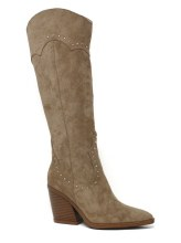 Tall Beige Western style studded boot