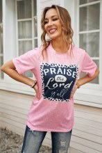 Short Sleeve Sublimation Praise Jesus Yall Tshirt Bubblegum Pink with bleach wash