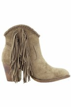 Short Ankle Taupe Fringe Bootie with stitching