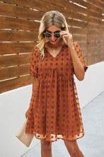 Babydoll Style Burnt Orange Chiffon Dress