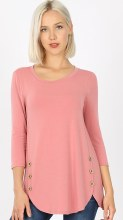 3/4 Sleeve  Dolman Top With Wood Buttons And Dolphin Hem