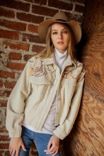 Corduroy Cream Cropped Shaket with embroidered and sherpa top panel