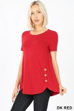 Short Sleeve Round Neck With Wood Side Buttons And Dolphin Hem Top