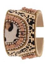 Leopard Seed Bead Cuff Mauve