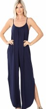 Tank Romper With Side Slits And Adjustable Straps