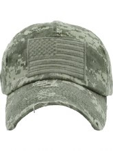 Green Camo Vintage Tactical Hat With Flag