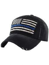 Black Blue Line Flag Hat