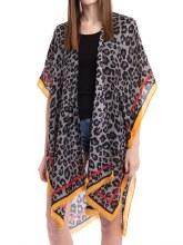 Leopard Solid Trim Kimono