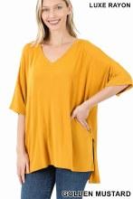 Golden Mustard high low hem tunic loose fit